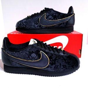 Women's Nike Cortez Classic Black Gold Shoes